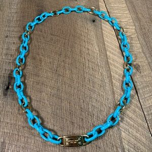 Michael Kors Gold Tone Turquoise Link Necklace